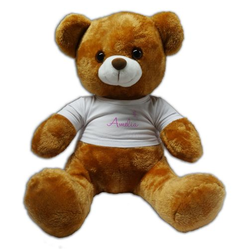 Personalised Any Name With Butterflies Pink 30cm Plush Soft Toy Bear